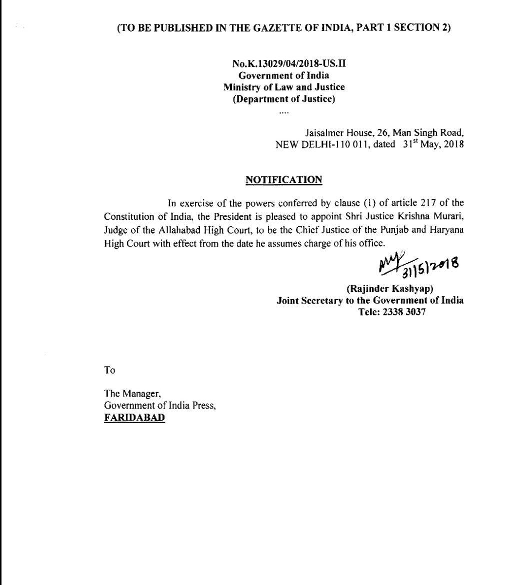 New CJ for Punjab and Haryana HC