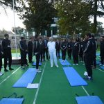 Prime Minister Narendra Modi with officer trainees at a yoga session at LBSNAA, Mussoorie/Photo: UNI