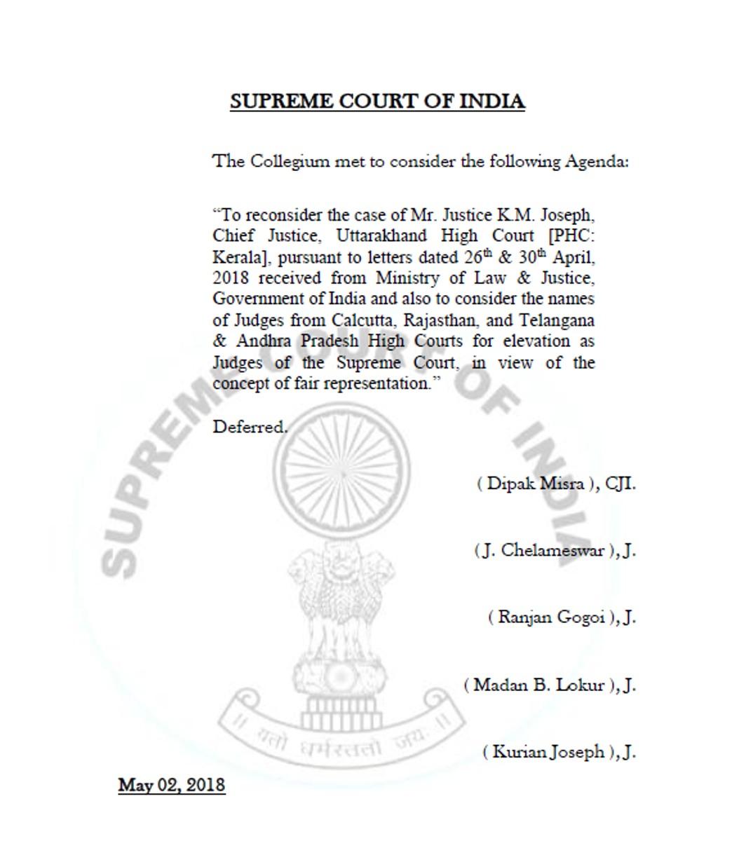 Issue of Justice KM Joseph's elevation to SC: Collegium