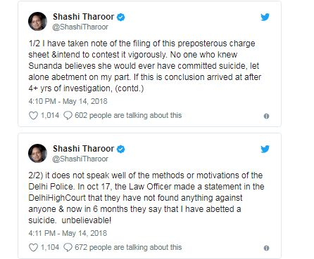 Sunanda Pushkar death: Tharoor charged with abetment of suicide