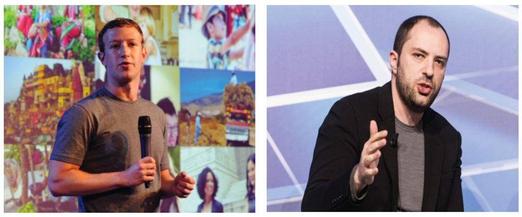 (Left) Facebook founder Mark Zuckerberg and co-founder of WhatsApp, Jan Koum