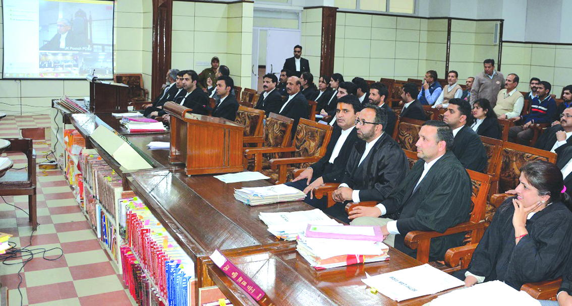 The first hearing in the J&K High Court via video conferencing, in February this year. Photo: thenorthlines.com