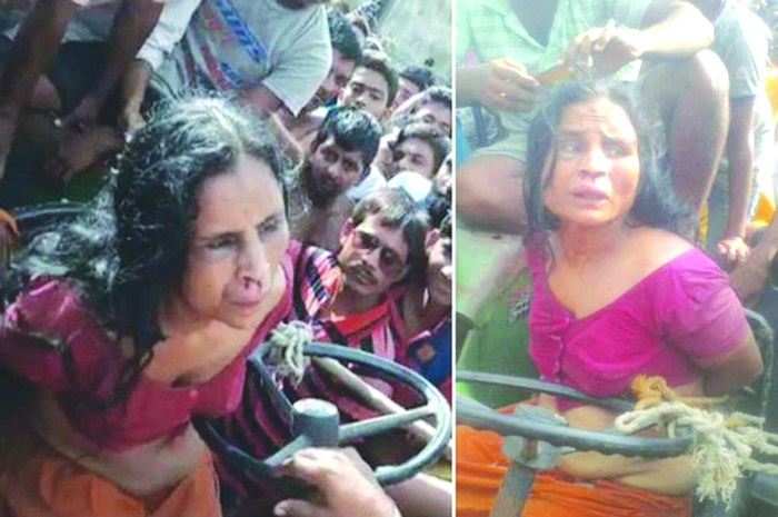 40-year-old Otera Bibi being manhandled by villagers before her death in Murshidabad district, in June 2017