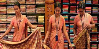 Saleswomen at a textile showroom in Kerala. They had to stand for hours and attend to customers/Photo: keralavisiontv.com