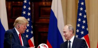 US President Trump with his Russian counterpart, Vladimir Putin, at their joint news conference in Helsinki/Photo: UNI