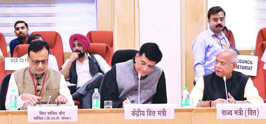 Union Minister for Railways, Coal, Finance and Corporate Affairs Piyush Goyal chairs the 28th GST Council meet in New Delhi. Photo: PIB