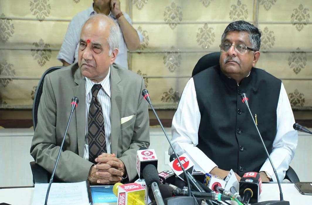 Justice BN Srikrishna (left) along with Union Minister Ravishankar Prasad speaking to mediapersons after submitting his report on data protection