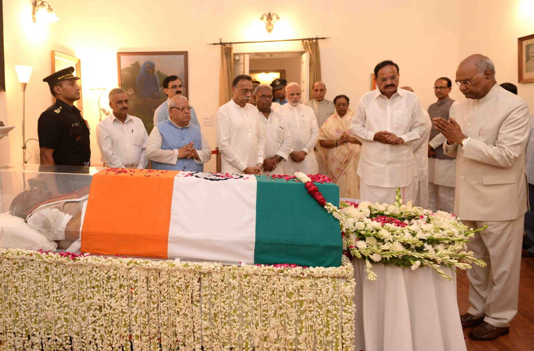 President Ram Nath Kovind (extreme right), Vice-President M Venkaiah Naidu (third from right), Prime Minister Narendra Modi (sixth from right) and other senior politicians visited Vajpayee's residence in New Delhi to pay their respects/Photo: UNI