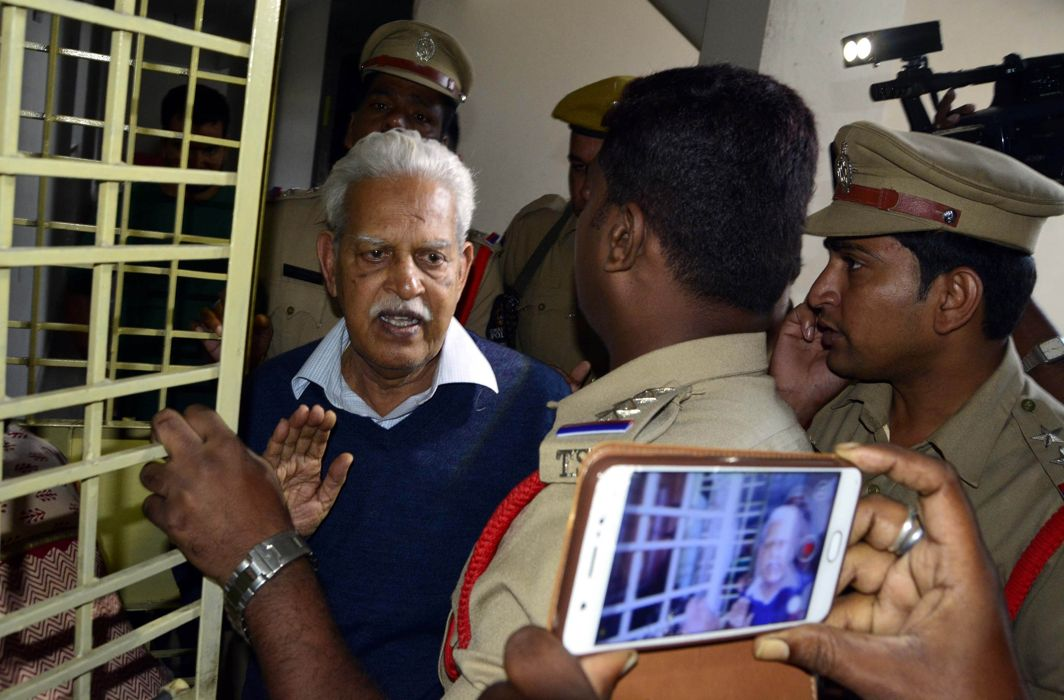 P Varavara Rao upon his return to his Hyderabad residence where he is under house arrest/Photo: UNI