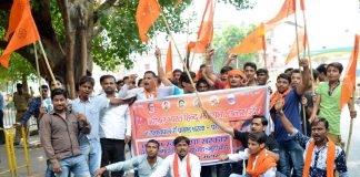 Akhil Bharatiya Hindu Mahasabha activists at a demonstration in Lucknow/Photo: UNI