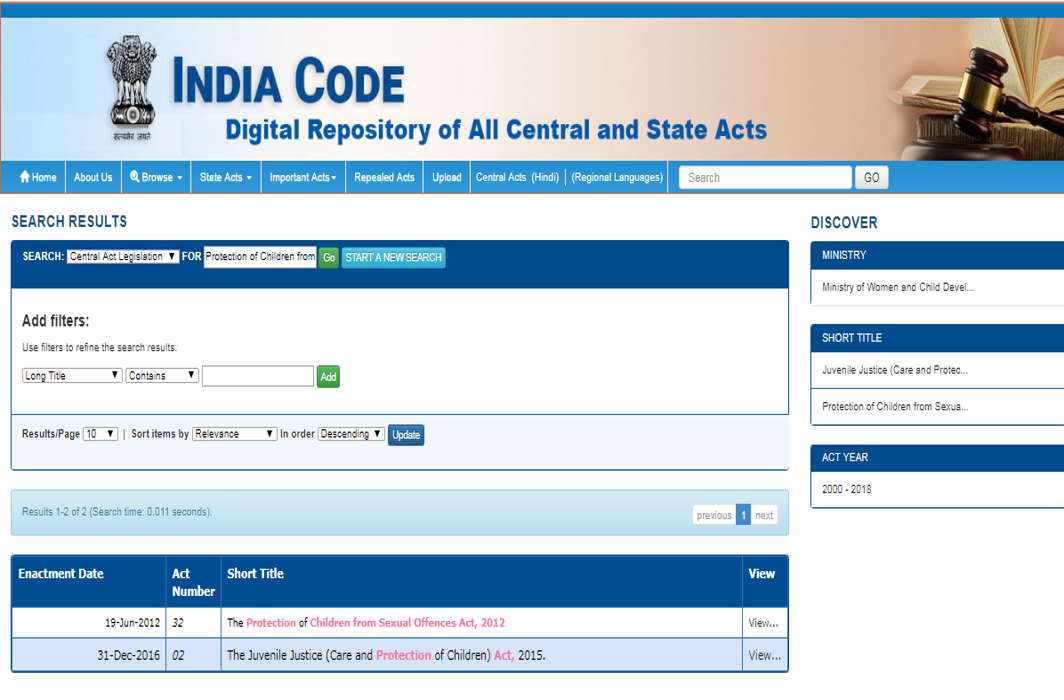 India Code Website: Laws Just a Click Away