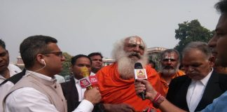 Above Mahant Ramdas talking to mediapersons after the Ramjanambhoomi-Babri Masjid title case was deferred to January 2019Photo Anil Shakya