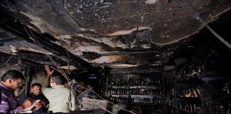 Forensic officials inspect  restaurant premises in Bengaluru after a fire killed five people/Photo: UNI