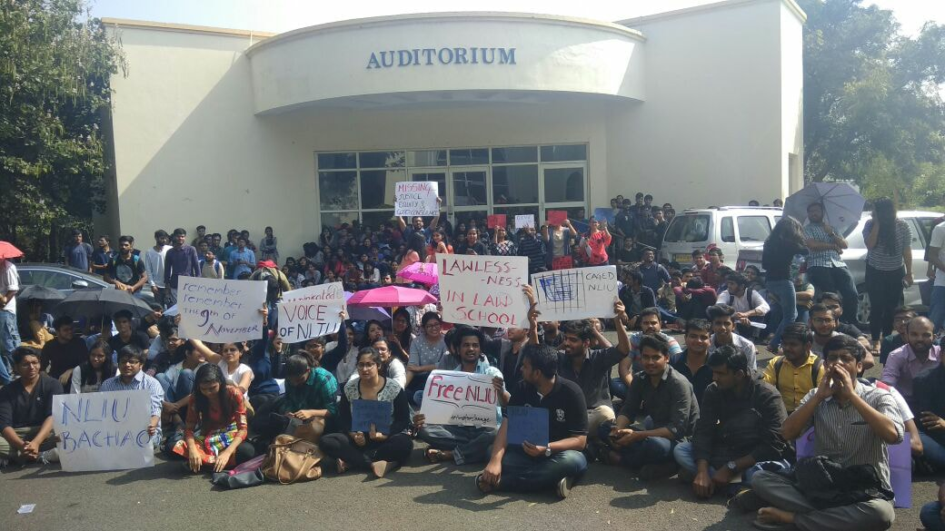 Students of NLIU, Bhopal, protesting against malpractices, including the allotment of fake degrees/Photo: @nliuspeaks/facebook.com