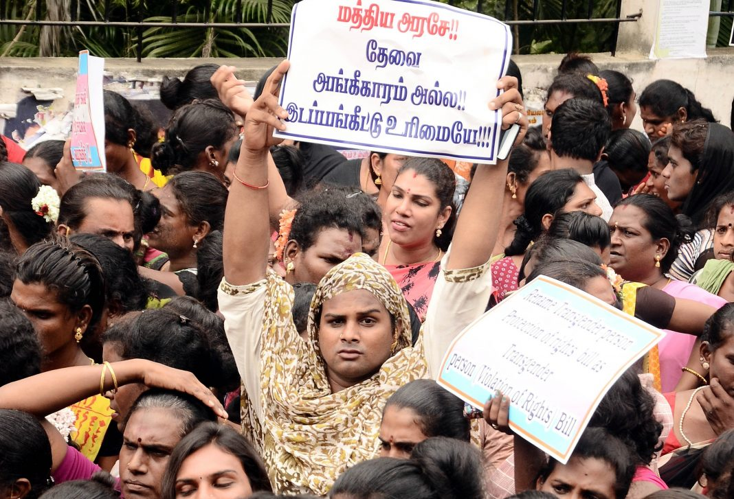 Activists in Chennai protesting against the Transgenders Protection of Rights Bill/Photo: UNI