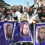Muslim League members protest charging of separatist leader Masarat Alam Bhat under J&K Public Safety Act at Habba Kadal in Srinagar (file pic)/Photo: UNI