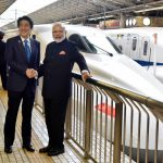 Prime Minister Narendra Modi and Prime Minister of Japan Shinzo Abe at Tokyo Station to board the Shinkansen bullet train to Kobe, in Japan (file pic)/Photo:UNI