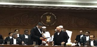 Justice VG Arun taking the oath of office in the Kerala High Court/Photo: SNS