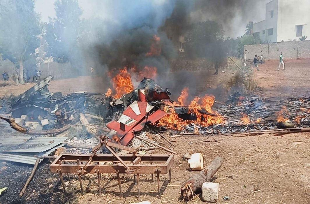Wreckage of two Surya Kiran jets that crashed in Bengaluru in February 2019/Photo: UNI