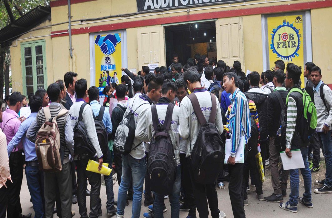 Unemployed youth at a job fair in Assam. Unemployment has increased to an all-time high of 6.1 percent in 2018/Photo: UNI