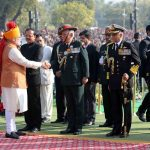 PM Narendra Modi greeting the three service chiefs at the 2019 Republic Day celebrations at Rajpath/Photo: PIB