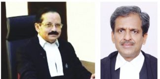 Justice SR Sen (left) of the Meghalaya HC promoted the idea of a Hindu nation; Allahabad HC's Justice SP Kesharvani praised the Ayushman Bharat scheme