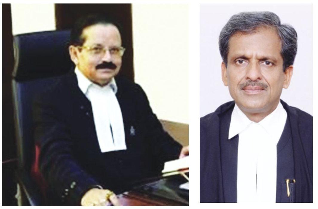 Justice SR Sen (left) of the Meghalaya HC promoted the idea of a Hindu nation; Allahabad HC's Justice SP Kesharvani praised the Ayushman Bharat scheme