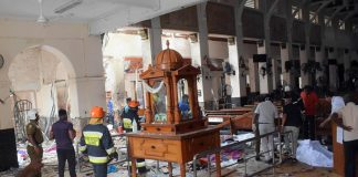 The blast site inside St Anthony's Church in Colombo. More than 300 people were killed in the explosions in Sri Lanka/Photo: UNI