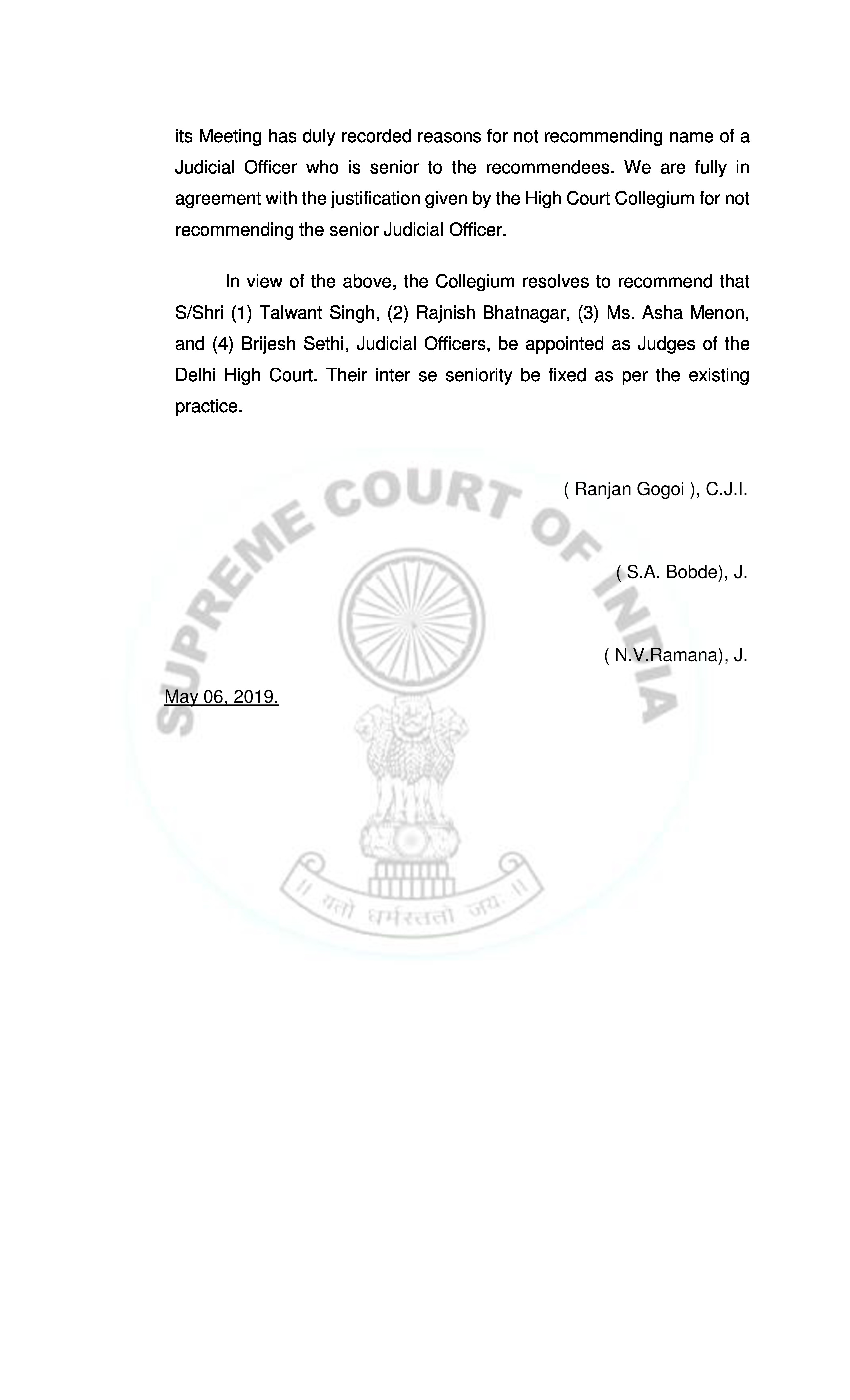 SC Collegium recommends four names to be appointed as Delhi HC