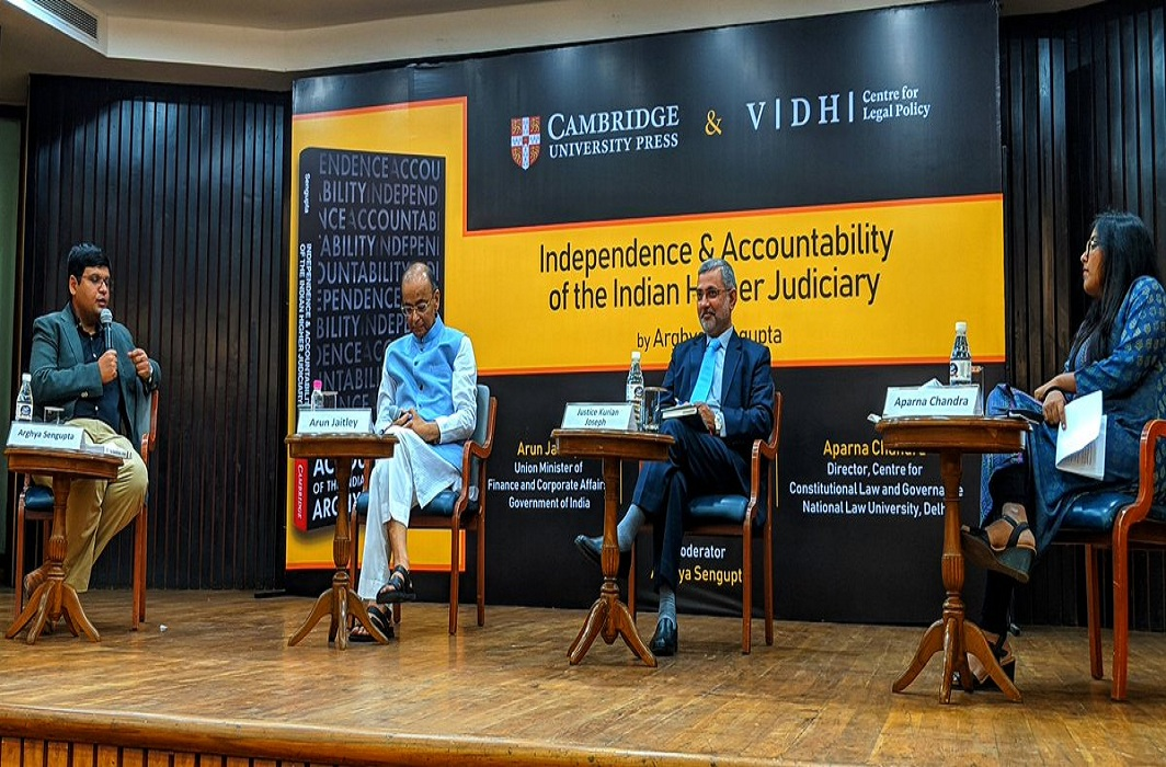 Former SC judge Justice Kurian Joseph (blue suit) with FM Arun Jaitley at a book launch ceremony where he spoke about the NJAC/ twitter.com/cambridgeindia