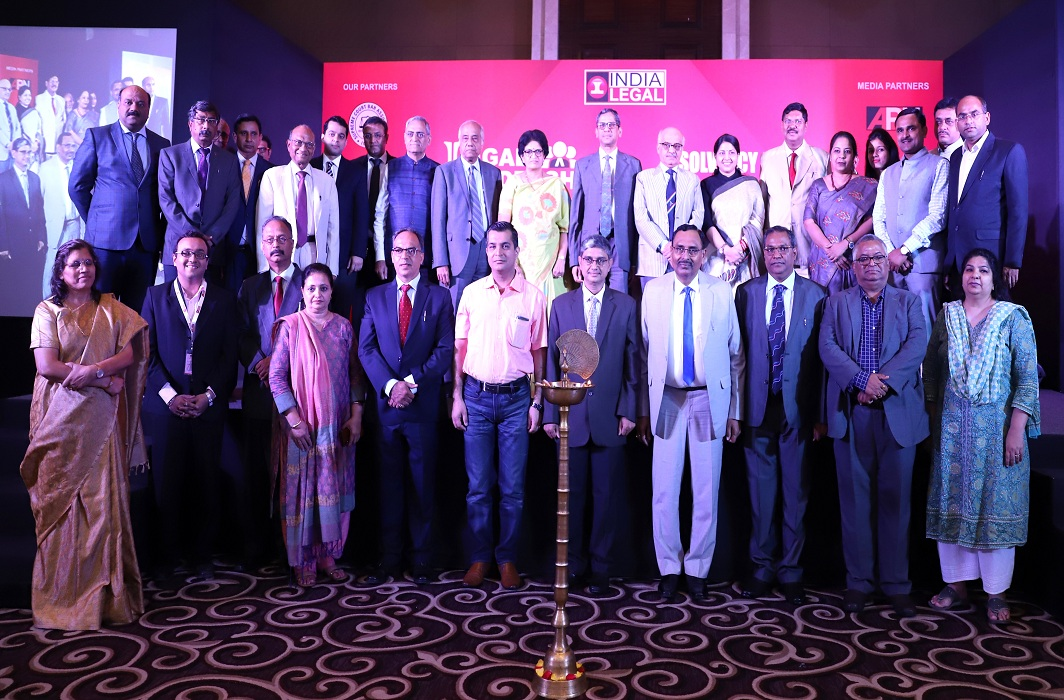Members from NCLT and SCBA with Justice Ramana (ninth from right, back row), Justice Pradeep Nandrajog (eighth from right, back row), Justice BR Gavai, Bombay HC (sixth from right, back row), and Justice BN Srikrishna (eighth from left, back row)