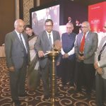 Justice NV Ramana of the Supreme Court lighting the ceremonial lamp at the Legal Leadership Conclave. Also seen are Chief Justice of the Bombay High Court Pradeep Nandrajog (extreme right); former Supreme Court judge Justice BN Srikrishna (first from left); Editor-in-chief, APN, Rajshri Rai (second from left); Editor-in-Chief, India Legal, Inderjit Badhwar (second from right); and former law secretary PK Malhotra (third from right)/All photos: Anil Shakya