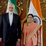 Iran FM Mohammad Javad Zarif (left) with Indian counterpart Sushma Swaraj/Photo: UNI
