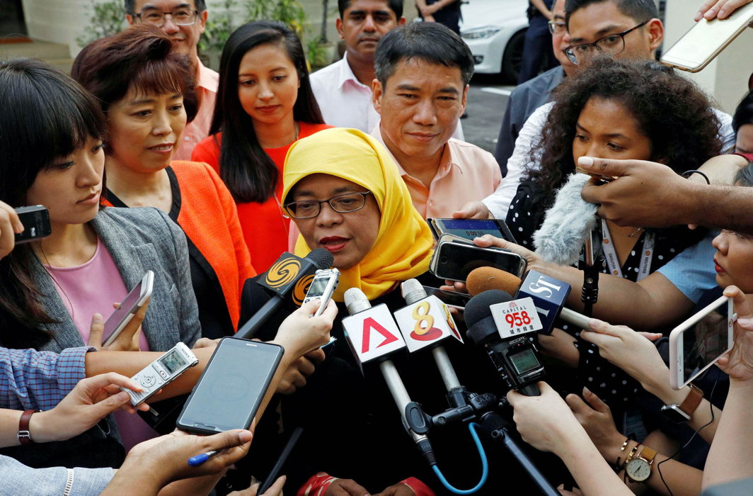 Former speaker of Singapore's Parliament Halimah Yacob speaks to the media. POFMA seeks to shackle the already controlled press/Photo: UNI