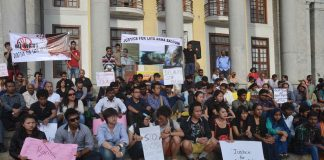 A protest by young people from the Northeast against racial attacks and violence in Bengaluru/Photo: UNI