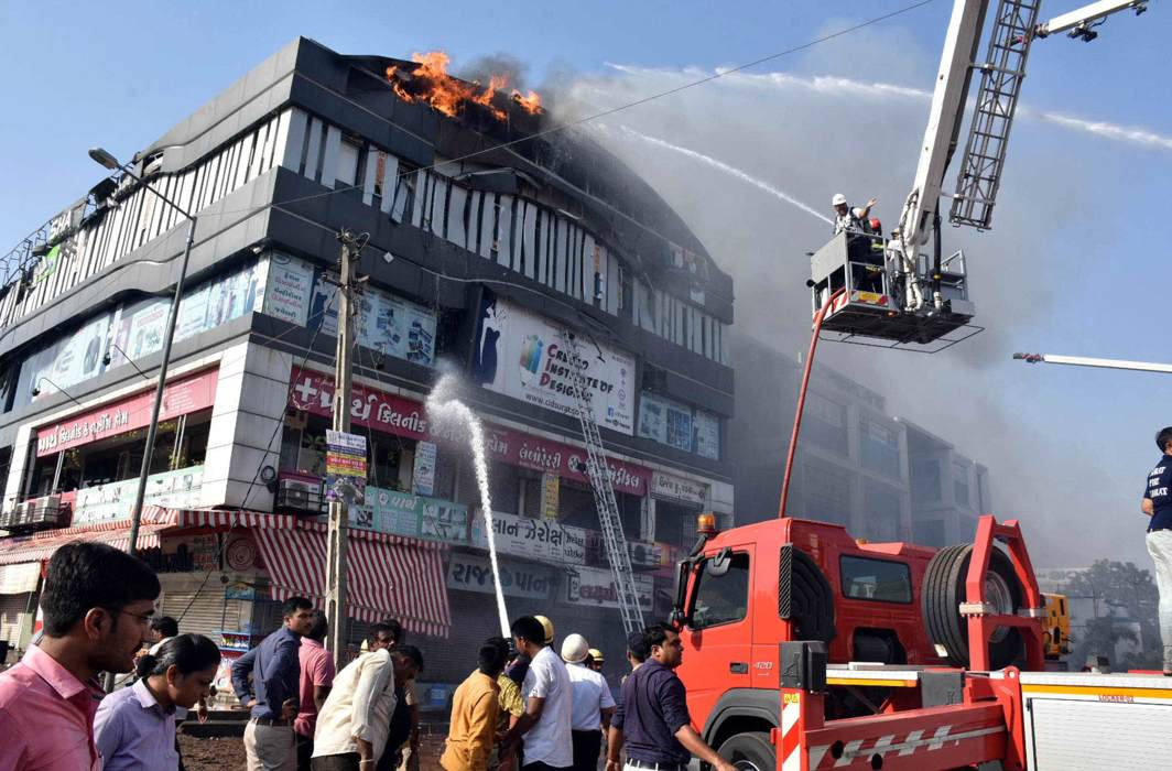 The Takshshila Arcade in Surat where 22 students lost their lives was regularised by paying impact fees/Photo: UNI