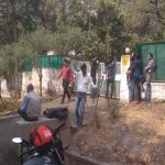 Media crews outside the house where Additional DGP Rajendra Mishra has kept his father's body.