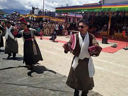 Lok Sabha MP Jamyang Tsering Namgyal celebrating on Independence Day in Leh/Photo: ANI