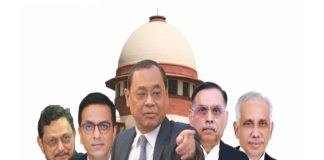 he Ayodhya case is being heard by a Constitution Bench comprising Chief Justice of India Ranjan Gogoi (centre) and (from left) Justices SA Bobde, DY Chandrachud, Ashok Bhushan and Abdul Nazeer