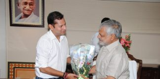 Vaibhav Gehlot with Rajasthan Cricket Association Chief Dr CP Joshi