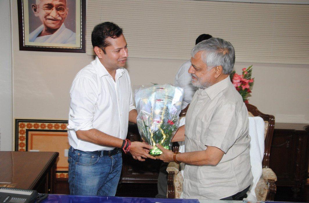 Vaibhav Gehlot with Rajasthan Cricket Association Chief Dr CP Joshi