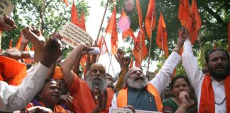 A demonstration by the United Hindu Front against love jihad in New Delhi Even the VHP and Bajrang Dal have protested against it/Photo: Anil Shakya