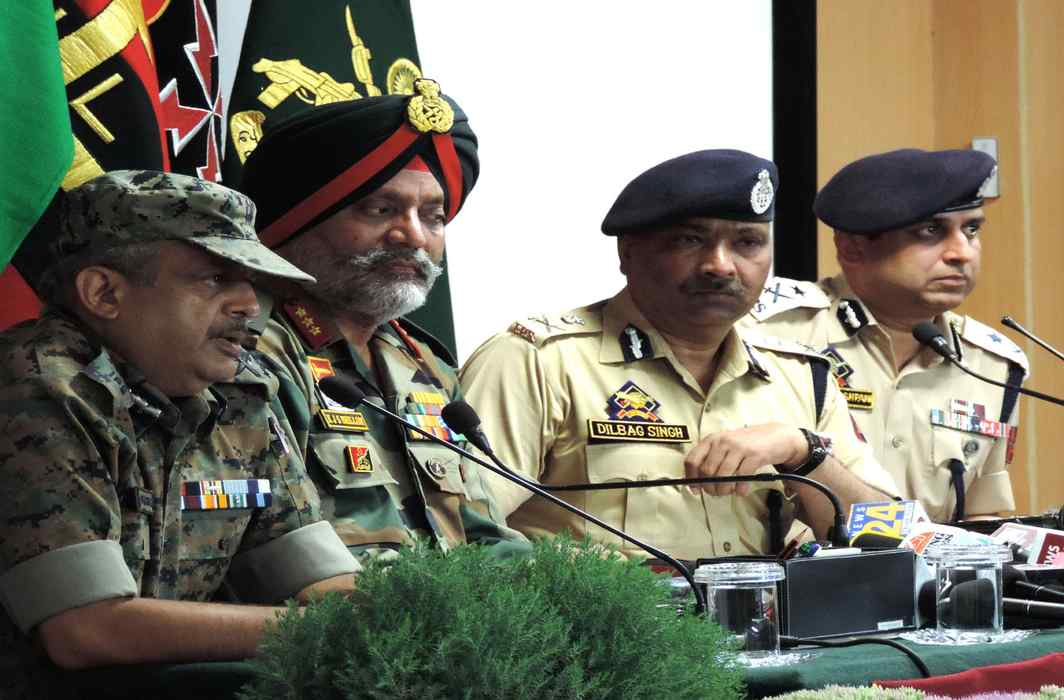 senior CRPF officials with Army officers at a press conference. IPS officers on central deputation are generally deployed in the Central Armed Police Forces