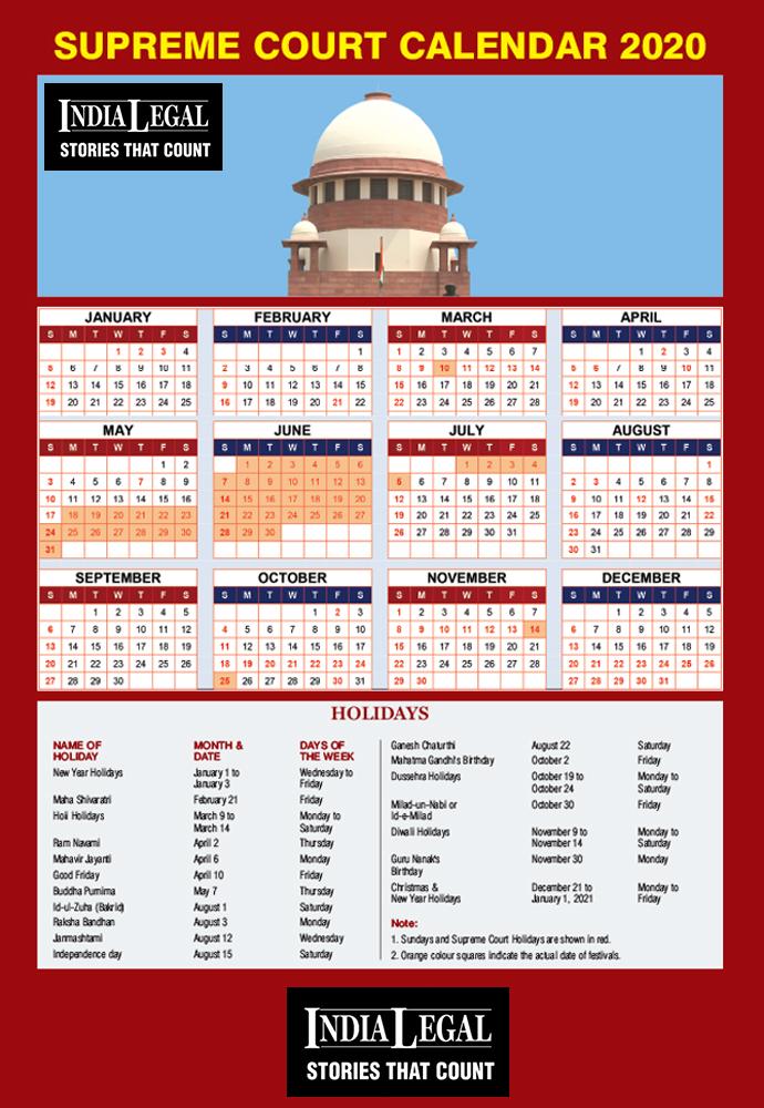 Supreme Court Calendar 2022.Supreme Court Of India Calendar 2020 India Legal