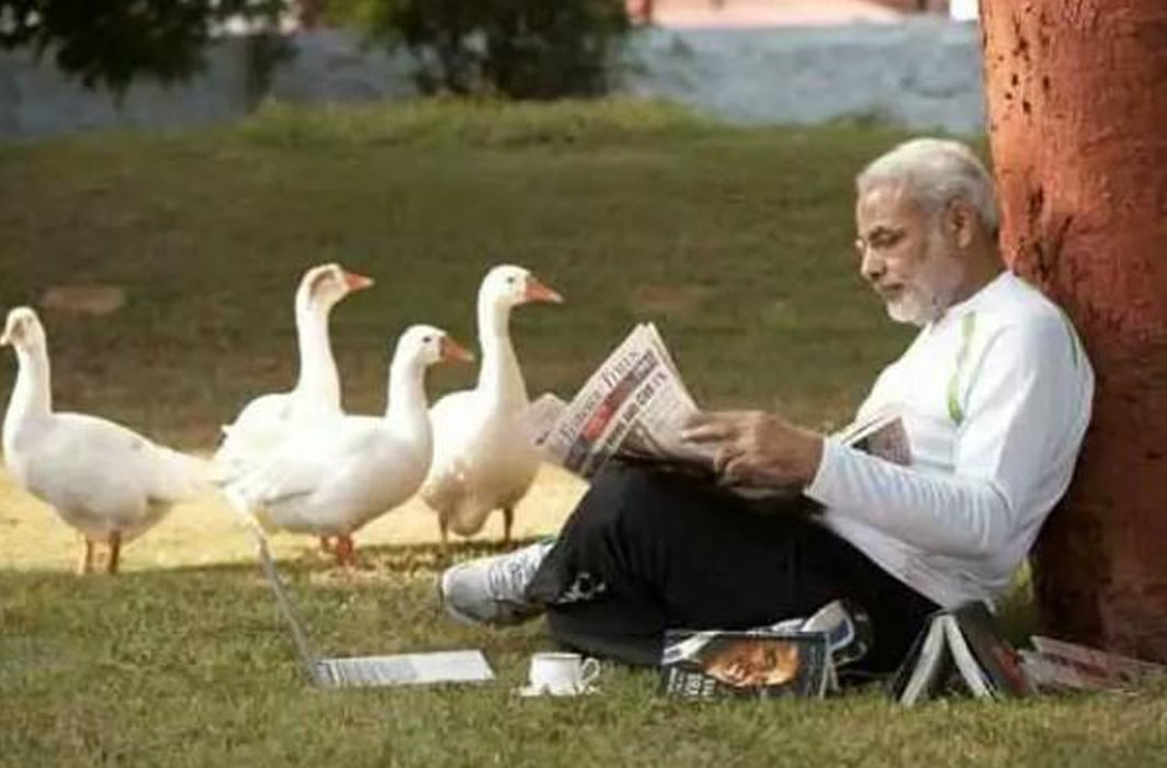 Modi with ducks Lead