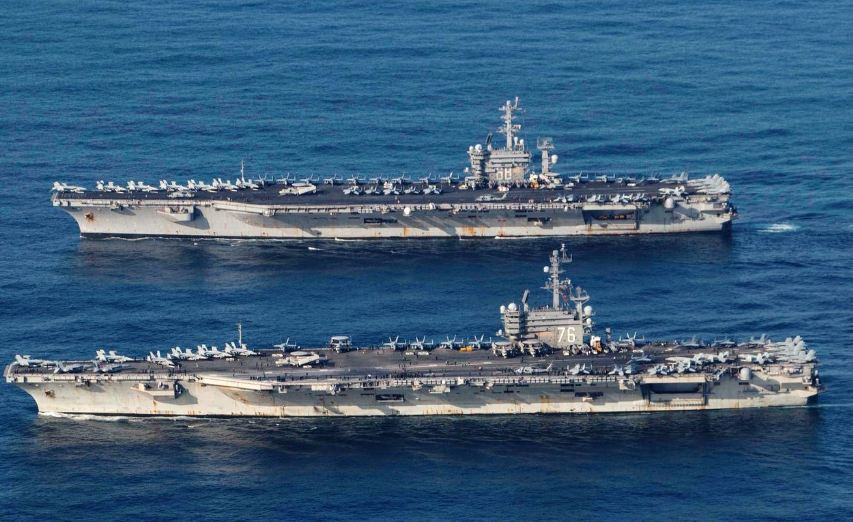 Warships in South China Sea (Nimitz, Ronald Regan, Queen Elizabeth ships