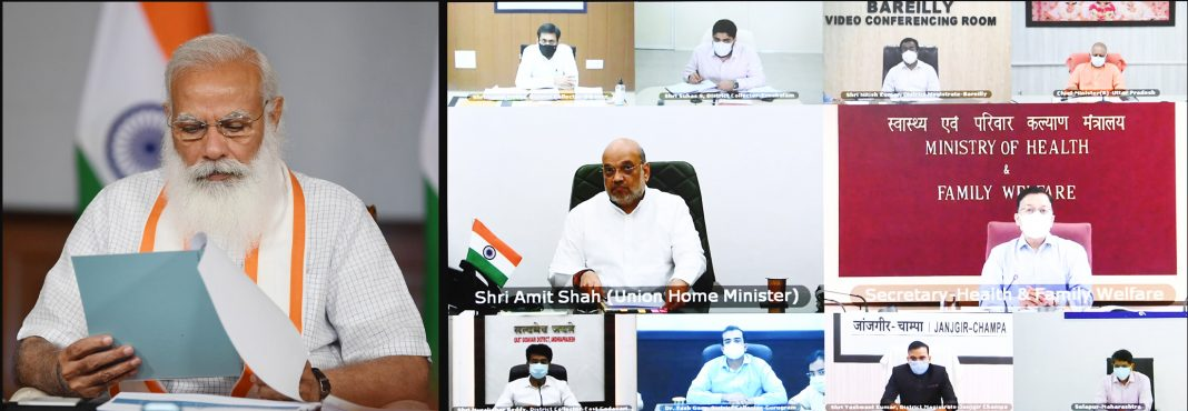 Modi-interacting-with-the-State-and-District-officials-on-COVID-19-situation-through-video-conferencing-in-New-Delhi