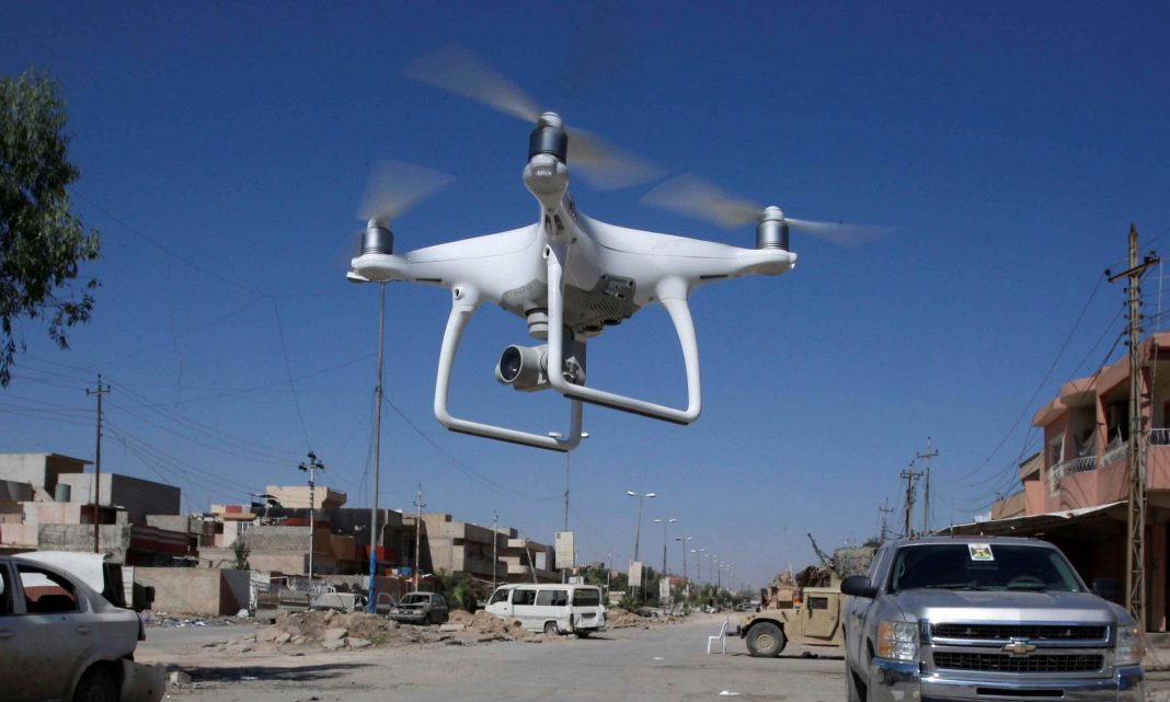 A drone of the Iraqi Army 9th Armoured Mountain Division flies outside their temporary command post in al-Zanjili district in western Mosul