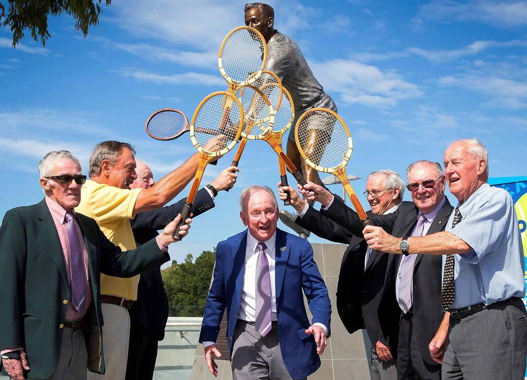 LIVING LEGENDS: Former Australian tennis player Rod Laver (C) celebrates with fellow former Australian players (L-R) Ken Rosewall, John Newcombe, Fred Stolle, Roy Emerson, Frank Sedgman and Neale Fraser the installation of a bronze statue of himself outside Rod Laver Arena at Melbourne Park during a promotional event for the ongoing Australian Open tennis tournament, Reuters/UNI