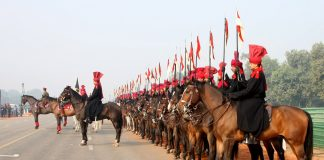 FORWARD MARCH: President's Bodyguards rehearse for the Republic Day Parade at Rajpath in New Delhi on January 12, UNI